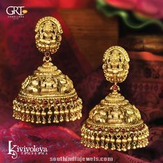 GRT jewellers gold antique temple jhumka design: Diamond Jewellery, Jewellers Go… - Gold Jewelry Gold Temple Jewellery, Indian Wedding Jewelry, Gold Jewellery Design, Bridal Jewelry, Gold Jewelry, Indian Jewelry, Jewelry Shop, Designer Jewellery, Simple Jewelry