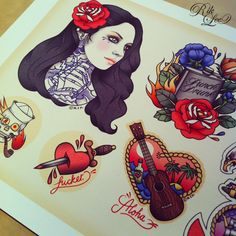 My Summer Vacation - Flash Sheet.  The Rites Of Passage tattoo convention kicks off in Melbourne today. There's loads of rad people involved, including my friends at Outré Gallery who'll be exhibiting a bunch of work, like this limited edition flash sheet pictured here.x