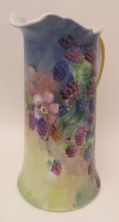 Beautiful-12-Hand-Painted-Vintage-Porcelain-Tankard-Pitcher-Blackberries