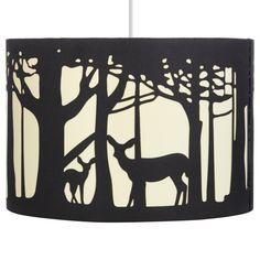 George Home Black Deer Silhouette Lampshade main view Hirsch Silhouette, Deer Silhouette, Painting Lamp Shades, Diy Painting, Western Lamps, Deer Lamp, Black Deer, Rustic Lamp Shades, Woodland Theme