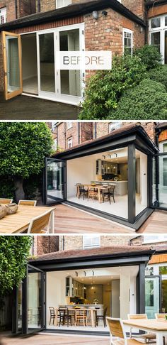 Before And After – A Victorian Townhouse Redesign In North London In this house renovation, folding sliding doors in dark grey aluminium replaced the original doors and opened up the interior to the garden, creating an indoor/outdoor living environment. Victorian Townhouse, Victorian Homes, Home Decor Kitchen, Interior Design Kitchen, Kitchen Chairs, Reforma Exterior, Indoor Outdoor Living, Interior Barn Doors, Apartment Design