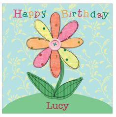 Button Flower - personalised individual birthday card