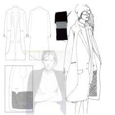 Fashion Portfolio layout - smocked jacket design illustration; fashion drawing; fashion sketchbook // Faiza Matovu