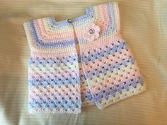 Ravelry: Maureen Charity Cardigan pattern by Vicky Coleman Baby Cardigan Knitting Pattern Free, Crochet Baby Sweaters, Crochet Coat, Crochet Baby Clothes, Baby Knitting, Crochet Girls, Crochet For Kids, Free Crochet, Baby Patterns