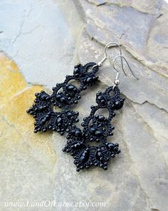 Black Victorian lace earrings Tatted lace and beads by LandOfLaces