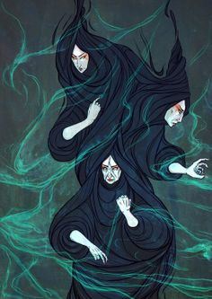 The Weird Sisters from Macbeth (again) Ink and Digital and other things thrown in there Mixed Media. Threads of Fate Macbeth Characters, Macbeth Witches, Lady Macbeth, Atlas Tattoo, Witch Drawing, Weird Sisters, Three Witches, Greek Mythology Art, Witch Tattoo