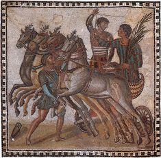 Mosaic with the scene in the Circus. Marble, limestone and glass paste. 3rd century CE.  Inv. No. 3602. Madrid, National Archaeological Museum