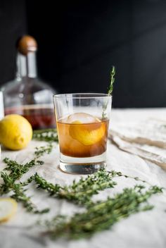 Bourbon Thyme Cocktail   saltedplains.com
