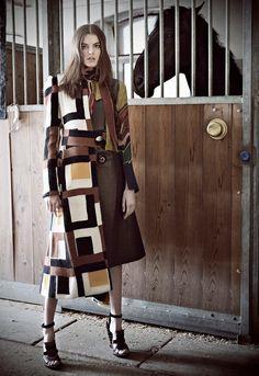 Marie Claire Indonesia, August 2015 | Model wears #FerragamoFW15 runway show coat and sandals. http://www.ferragamo.com