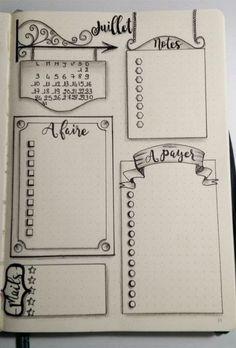 Source Gaëlle Auffret via le groupe FB Bullet Journal - Version française Bullet Journal Inspo, Bullet Journal Ideas Pages, Bullet Journal Layout, Bullet Journals, Bullet Journal Frames, Kalender Design, Sketch Notes, Creations, School