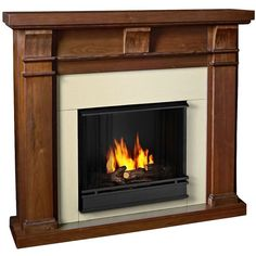 Real Flame Porter Walnut Mantel Gel Fireplace ($588) ❤ Liked On Polyvore  Featuring Home