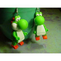 Nintendo Yoshi Earrings ($16) ❤ liked on Polyvore