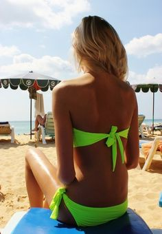 tan and a green bikini!