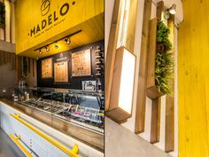 We decided to give Madelo the look and atmosphere of a café, a place to sit and relax and enjoy a nice treat. The use of wood and plants give it a warm and welcoming aesthetic, which combined with modern lines and graphics provide the perfect scenario for an enjoyable experience.