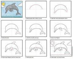 Dolphin How to draw a dolphin tutorial // Cómo dibujar un delfín Drawing Tips how to draw a dolphin Art Drawings For Kids, Drawing For Kids, Easy Drawings, Art For Kids, Drawing Drawing, Drawing Tips, Dolphin Drawing, Dolphin Art, Dolphin Logo