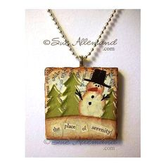 OOAK Place of Serenity Snowman Pendant Necklace by SueAllemandArt.  Handpainted Mixed Media.  $20 includes FREE shipping in the USA.