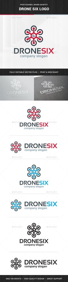 Drone Six Logo Template — Photoshop PSD #logo #six • Available here → https://graphicriver.net/item/drone-six-logo-template/15359811?ref=pxcr