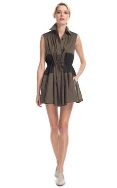 Thakoon Addition Sleeveless Drawstring Shirtdress