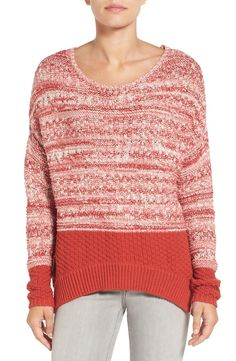 Main Image - Caslon® Colorblock Marl Knit Sweater (Regular & Petite)