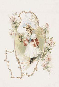 Vintage French lady in frame of pale pink roses. Vintage Abbildungen, Images Vintage, Decoupage Vintage, Decoupage Paper, Vintage Crafts, Vintage Labels, Vintage Ephemera, Vintage Pictures, Vintage Postcards