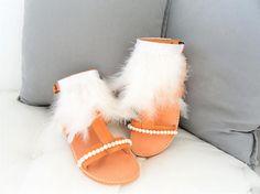 Marabu Feather SandalsBridal White Pearl Leather Sandals-Lace