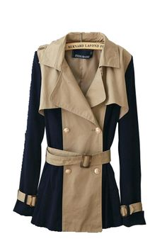 Western Double-breasted Lapel Contrast Color Fashion Windbreaker
