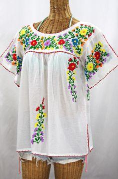 """La Lijera"" Embroidered Peasant Blouse Mexican Style -White + Rainbow"