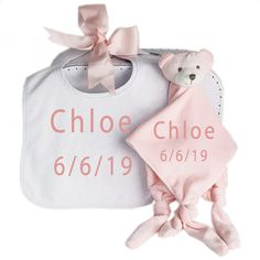 This gorgeous personalised baby gift set includes a personalised baby comforter and baby bib both embroidered with the new baby girls name and presented in a cute little retro style baby suit case tied with a big pink bow. New Baby Girl Names, New Baby Girls, Baby Girl Gifts, Baby Names, Dou Dou, Baby Suit, Baby Comforter, Baby Gift Sets, Personalized Baby Gifts