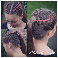 Five strand ribbon braids and French braid into ponytail.