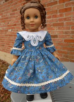 "18"" Doll Clothes Historical Civil War Style Gown Fits American Girl Cecile, Marie Grace, Addy"