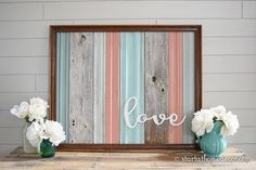This sign is made from reclaimed moldings and wood. The frame is wood and has been distressed to compliment the Coral/Teal colors. This sign measures 34.5Long x 28.5Tall This frame is for PICK UP ONLY