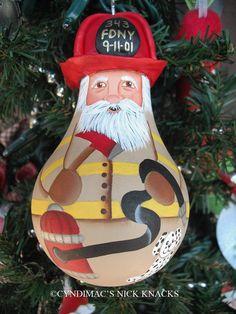 Fireman Santa Lightbulb Ornament