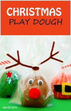 Christmas play dough. Homemade play dough that looks like Santa, Christmas tree and reindeer. Great winter activity for kids or DIY stocking stuffer. Easy craft. | at Non Toy Gifts