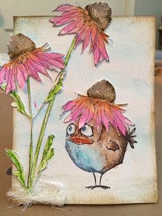 Getting Crazy with the Flowers  Hi everyone I'm Christina from the Crafty Card Gallery Design Team. Today I'm going to share a card I created for this months challenge. The theme is - Flowers - My inspiration came from one of my talented crafty friends Emma Williams. Here is my adorable card....  Supplies used: Tim Holtz watercolour card stock/distress inks - gathered twigs/tumbled glass/pumice stone/water brush/Stampers Anonymous - Crazy Birds/Flower Garden/black archival ink/heat tool/neo…