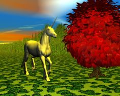 Unicorn by the red tree