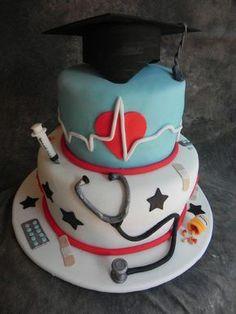 My doctor graduation - Cake by Monica Garzon Hoheb Fondant Cakes, Cupcake Cakes, Vet Cake, Medical Cake, Nursing School Graduation, Nursing Schools, Medical School, Doctor Cake, Retirement Cakes