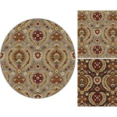 Featuring a floral pattern in blue and brown shades, this round rug will give any space a welcoming accent. Perfectly embodying transitional design, this rug is sure to please.