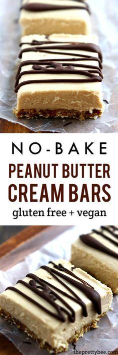 Light and delicious no-bake peanut butter cream bars are a wonderfully decadent dessert! | Vegan & Gluten free