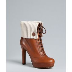 Gucci Brown Leather Rib Knit Trim 'lara' Platform Booties
