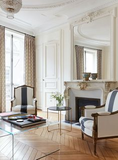 Ikea, Thonet, Kilim, Terrazzo, and A Bunch of Other Design Words You May Be Mispronouncing (Yes, Even IKEA!) - Emily Henderson #homedesign #interiors #designwords Paris Living Rooms, French Living Rooms, Elegant Living Room, Cozy Living Rooms, Home Living, Living Room Modern, Dining Rooms, Paris Apartment Interiors, French Apartment