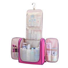 Javoedge Blue Personal Travel Bathroom Hanging Organizer For Toiletries Cosmetic Makeup Bonus Drawstring
