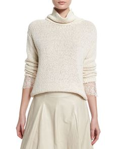 Knit+Lace-Cuff+Turtleneck+Sweater,+Butter+by+Brunello+Cucinelli+at+Bergdorf+Goodman.
