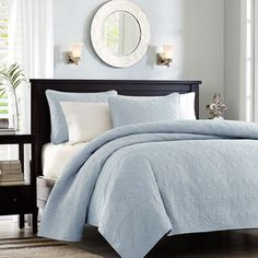 Madison Park Mansfield 3-piece Quilted Pattern Coverlet Mini Set; love this color... So soft for my master bedroom
