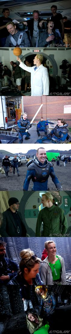Behind the scenes with Michael Fassbender on the set of Prometheus.