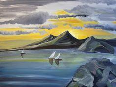 Landschaft mit Meer auf Leinwand ( Originalbild) 80 x 60 cm | KunstiX
