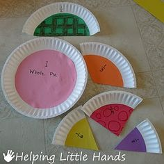 Fractions from paper plates. Glue construction paper or scrapbook paper to plate and cut (partition) into fractions. Easy to identify equal parts of the whole. Teaching Fractions, Math Fractions, Teaching Math, Comparing Fractions, Math Classroom, Kindergarten Math, Classroom Activities, Fraction Activities, Future Classroom