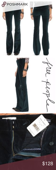 """Free People Oxanna Jewel Green Velvet Flare Pants 📦Same day shipping if P.O. Open ❤Measurements approximate. Descriptions accurate to the best of my knowledge  Free People """"Jewel Green""""' stretch velvet flare pants. Super soft velvet feel with trendy flare legs. Zipper fly + two clasp closure & an internal button. Slash front pockets. Back pockets are sewn closed. Size 28. Extra button & matching jewel green thread attached to tag. Flat measurements: 15"""" across waist, 10"""" rise, 31"""" inseam…"""