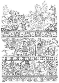 Néprajzi Múzeum - free coloring pages, with hungarian folk motives Hungarian Embroidery, Folk Embroidery, Paper Embroidery, Embroidery Patterns, Free Coloring Pages, Coloring Books, Zentangle, Pattern Art, Print Patterns