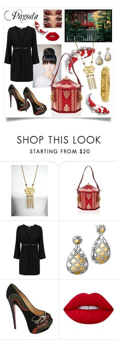 """""""After Dark - Pagoda"""" by bunnyfindsvintage ❤ liked on Polyvore featuring Braccialini, Halston Heritage, John Hardy, Christian Louboutin, Lime Crime and inspiration"""