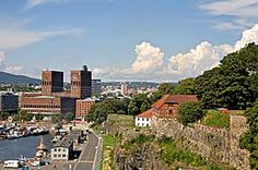 Oslo harbour and Akershus Fortress,  Oslo,  Norway